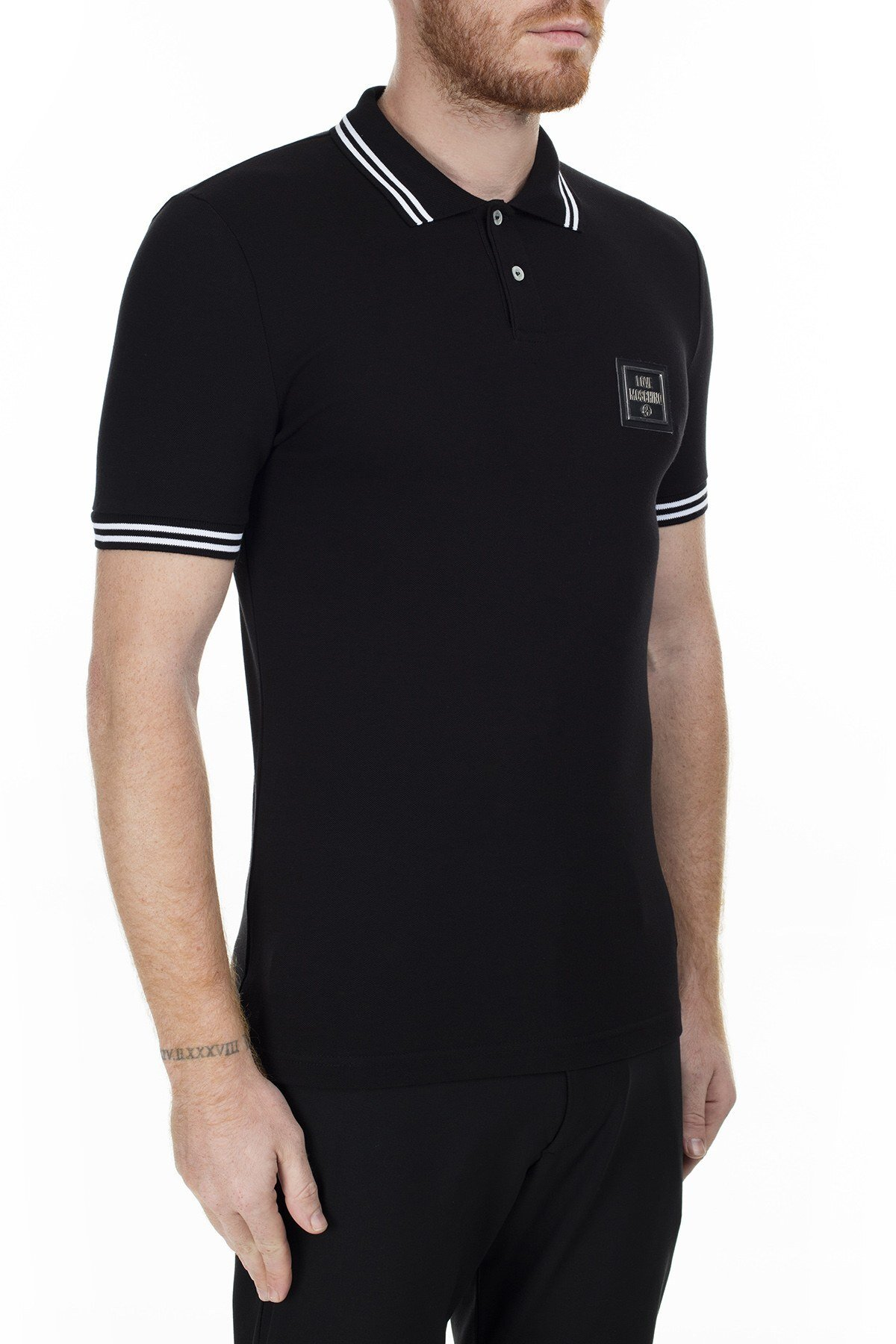 Love Moschino T Shirt Erkek Polo S M83048EE1809 C74 SİYAH