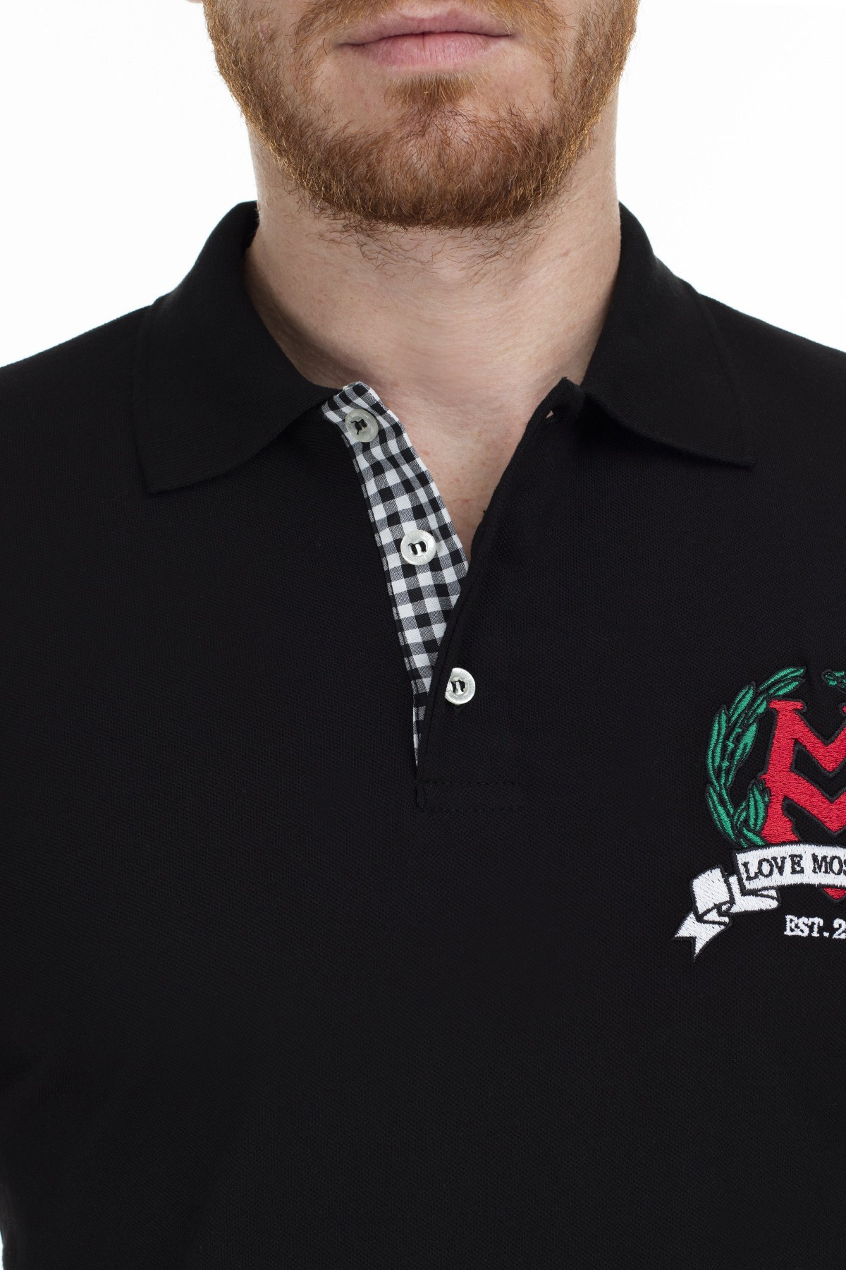 Love Moschino T Shirt Erkek Polo S M831501E1809 C74 SİYAH
