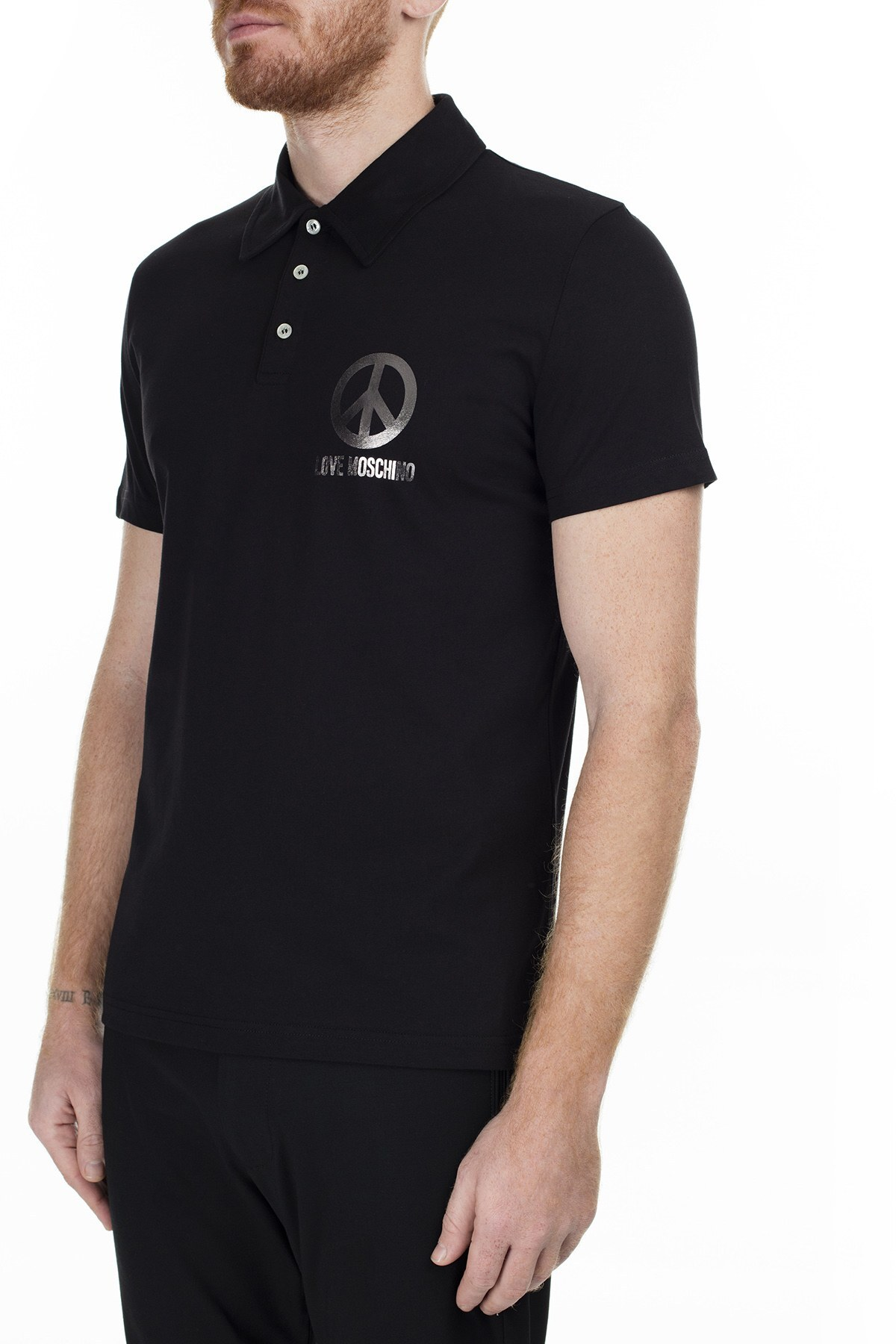 Love Moschino T Shirt Erkek Polo S M831802M3876 C74 SİYAH
