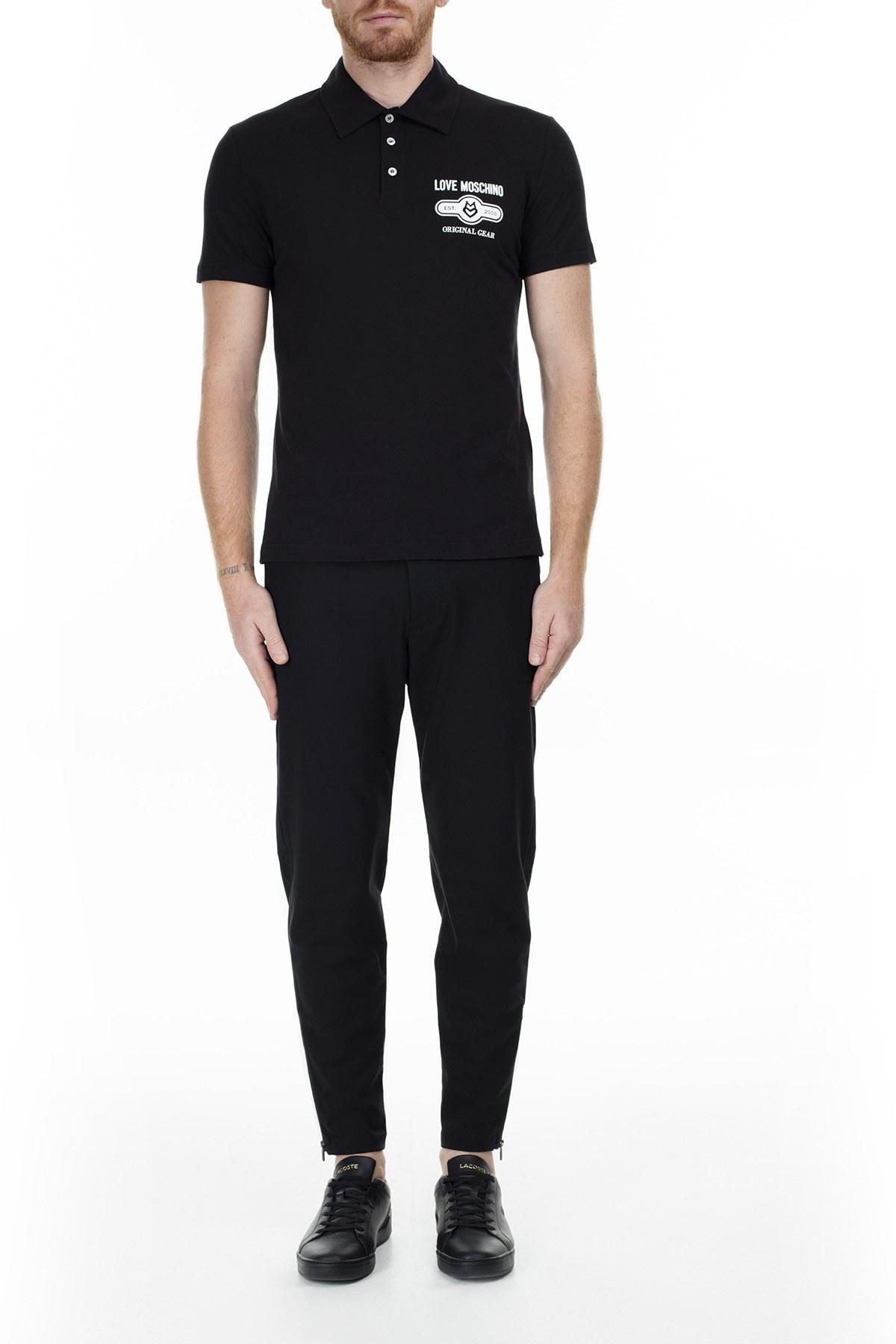 Love Moschino T Shirt Erkek Polo S M831803M3876 C74 SİYAH