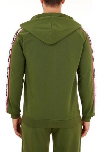 Moschino Logo Bantlı Kapüşonlu Fermuarlı Pamuklu Erkek Sweat A1707 8106 0401 HAKİ
