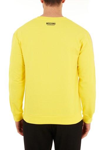 Moschino Regular Fit Logo Bantlı Bisiklet Yaka Pamuklu Erkek Sweat A1706 8106 0026 SARI