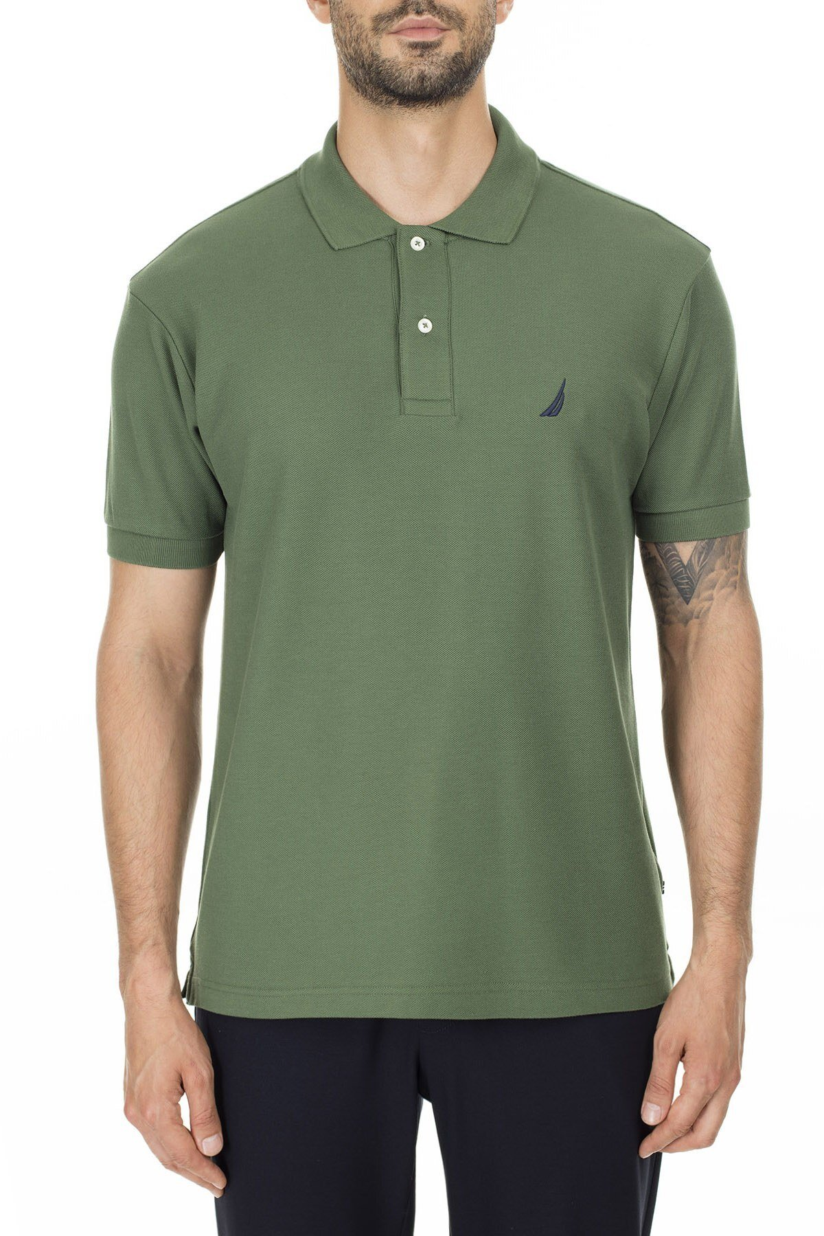 Nautica % 100 Pamuk T Shirt Erkek Polo K41000T 3FJ YEŞİL