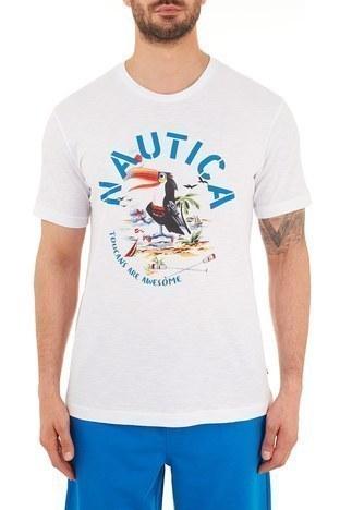 Nautica - Nautica % 100 Pamuklu Baskılı Bisiklet Yaka Erkek T Shirt VC0109T 1BW BEYAZ
