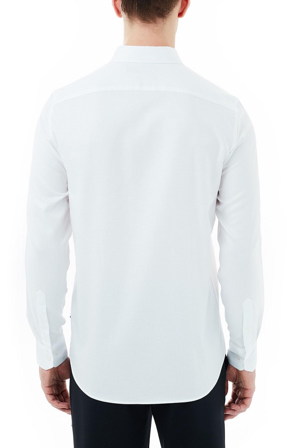 Nautica % 100 Pamuklu Düğmeli Yaka Erkek Gömlek W03010T 1BW BEYAZ