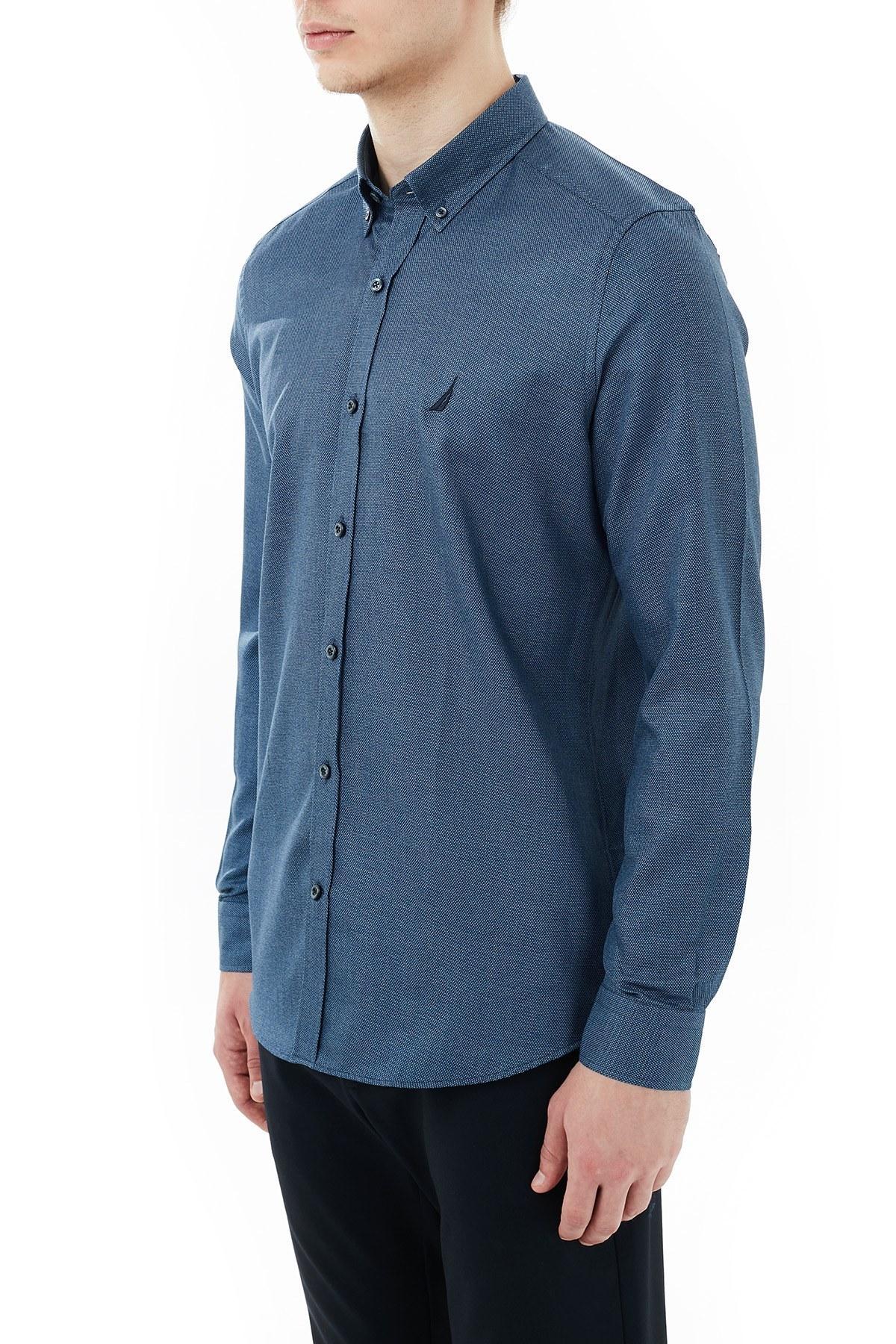 Nautica % 100 Pamuklu Düğmeli Yaka Erkek Gömlek W03010T 4NV LACİVERT