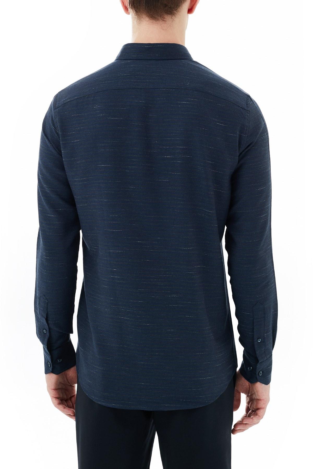 Nautica % 100 Pamuklu Düğmeli Yaka Erkek Gömlek W03034T 4NV LACİVERT