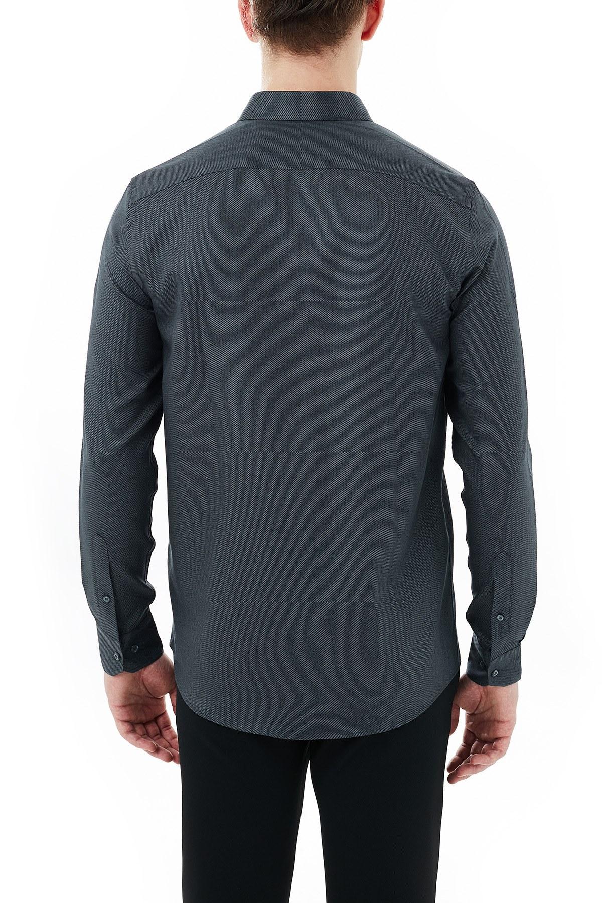 Nautica % 100 Pamuklu Slim Fit Düğmeli Yaka Uzun Kollu Erkek Gömlek W03010T 0TB SİYAH