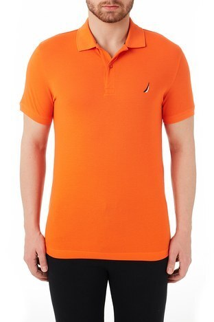 Nautica - Nautica % 100 Pamuklu Slim Fit T Shirt Erkek Polo KC0100T 8PR TURUNCU