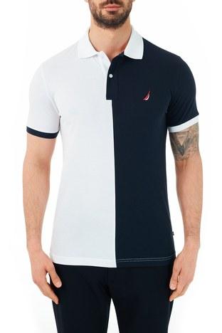 Nautica - Nautica % 100 Pamuklu T Shirt Erkek Polo KC0104T 1BW BEYAZ