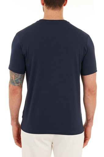 Nautica Baskılı Pamuklu Bisiklet Yaka Erkek T Shirt VC0100T 4NV LACİVERT