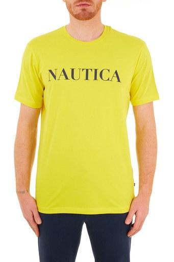 Nautica Baskılı Pamuklu Bisiklet Yaka Erkek T Shirt VC0100T 7BZ SARI