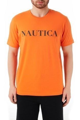 Nautica - Nautica Baskılı Pamuklu Bisiklet Yaka Erkek T Shirt VC0100T 8PR TURUNCU