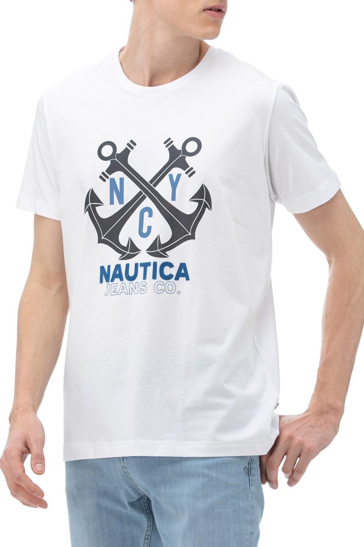 Nautica Pamuklu Baskılı Bisiklet Yaka Erkek T Shirt VR0114T 1BW BEYAZ