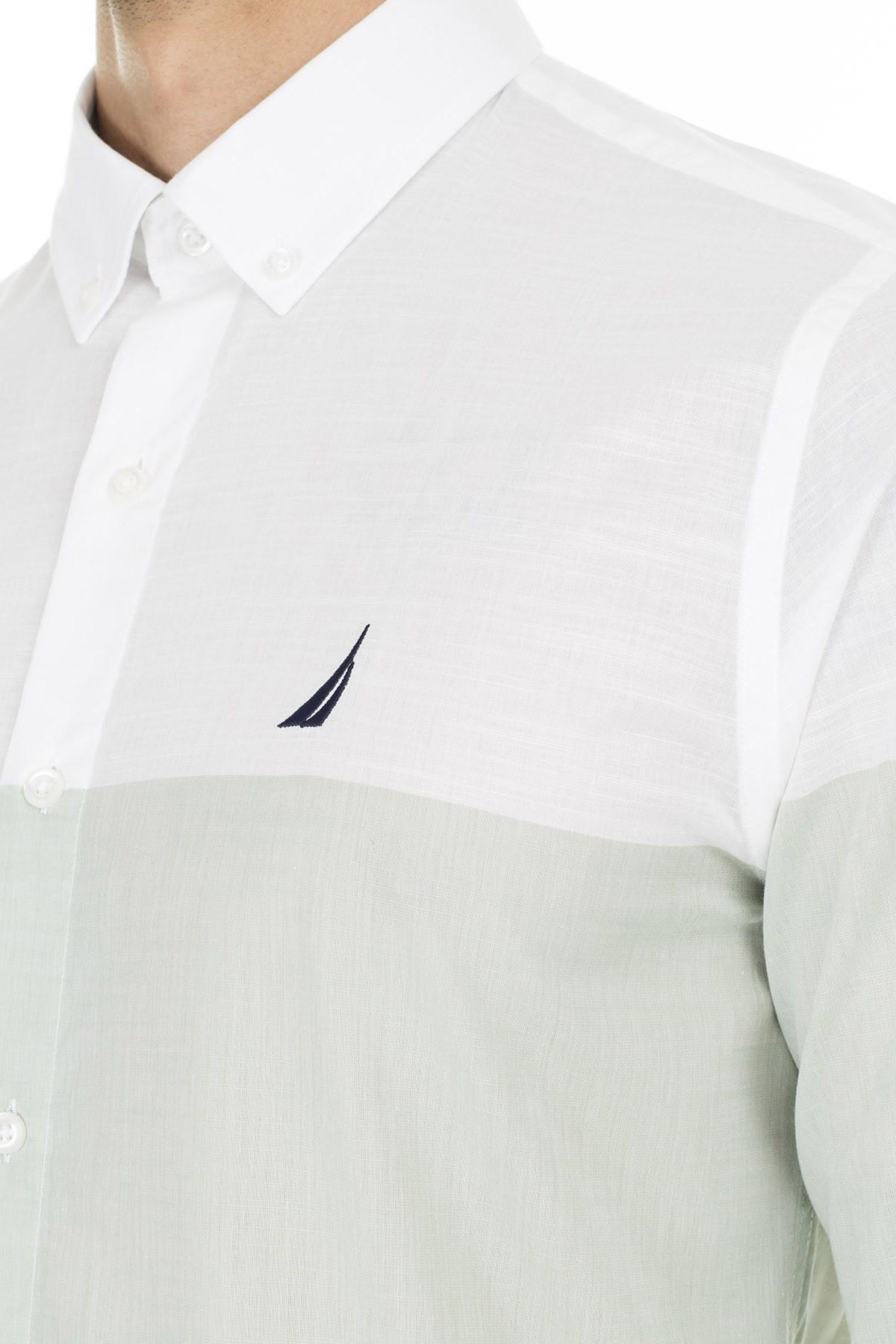 Nautica Düğmeli Yaka % 100 Pamuk Slim Fit Erkek Gömlek W91032T 3EU YEŞİL