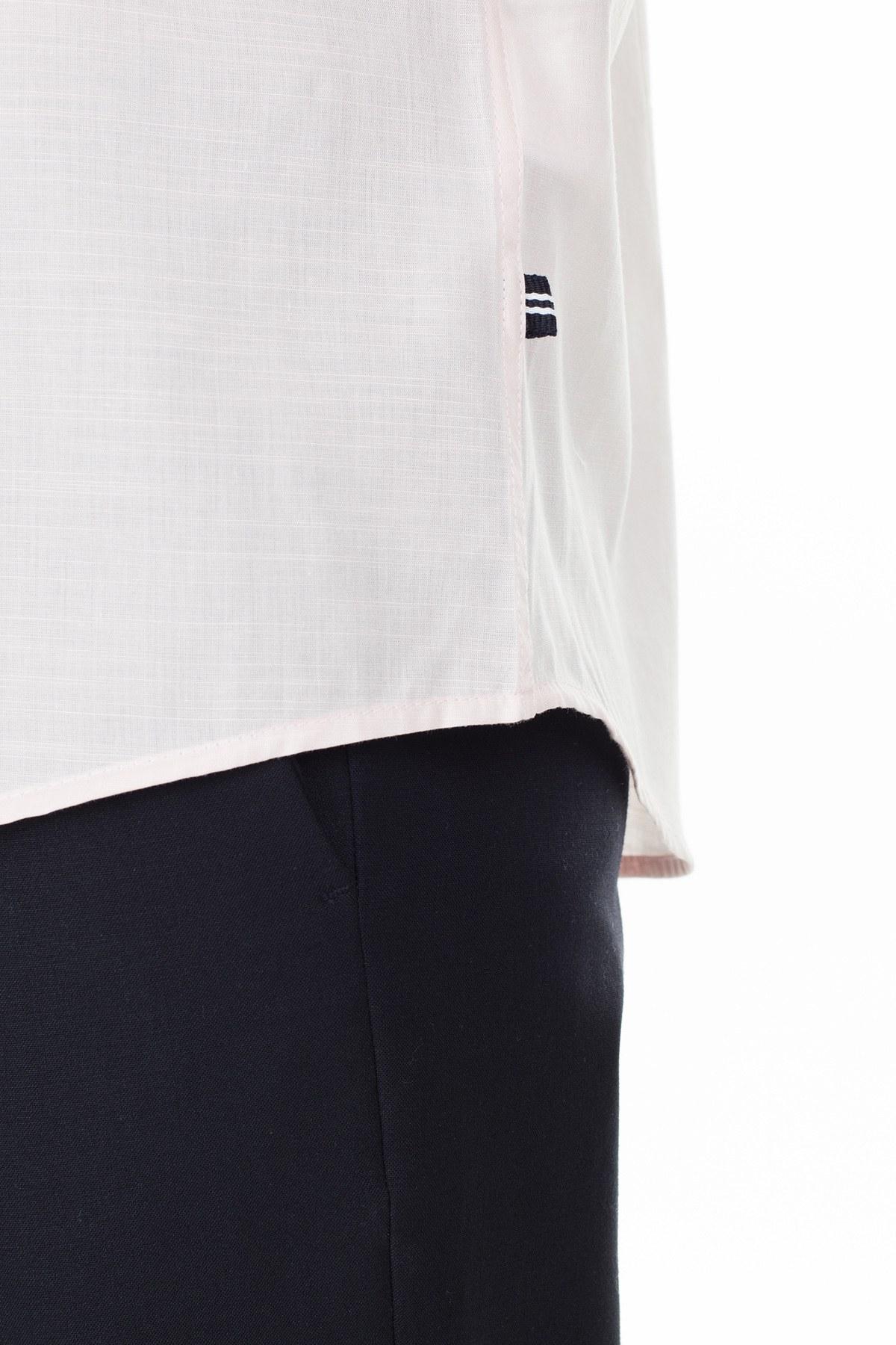 Nautica Düğmeli Yaka % 100 Pamuk Slim Fit Erkek Gömlek W91032T 6PV KIRMIZI