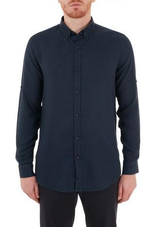 Nautica - Nautica Düğmeli Yaka Uzun Kollu Erkek Gömlek W15606T 4NV LACİVERT