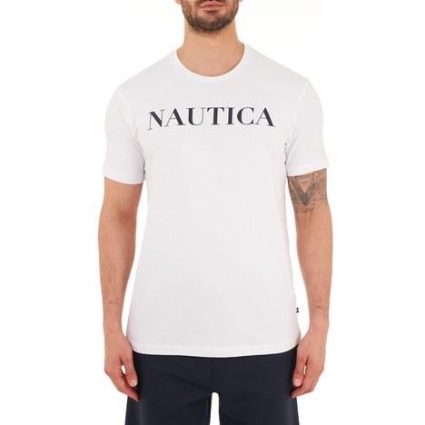 Nautica - Nautica Pamuklu Bisiklet Yaka Erkek T Shirt VC0100T 1BW BEYAZ