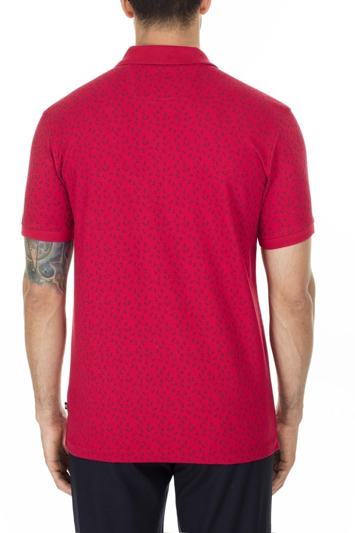 Nautica Pamuklu Slim Fit T Shirt Erkek Polo K01021T 6NR KIRMIZI