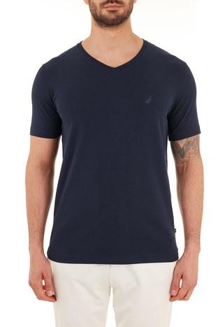 Nautica - Nautica Pamuklu V Yaka Erkek T Shirt V01001T 4NV LACİVERT