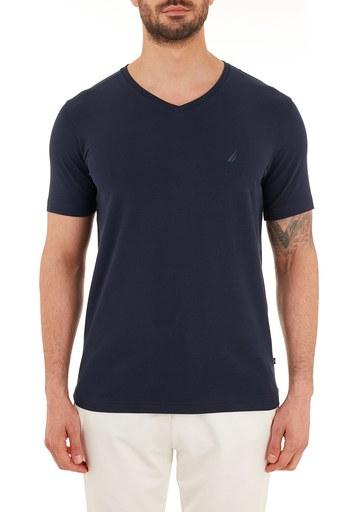 Nautica Pamuklu V Yaka Erkek T Shirt V01001T 4NV LACİVERT