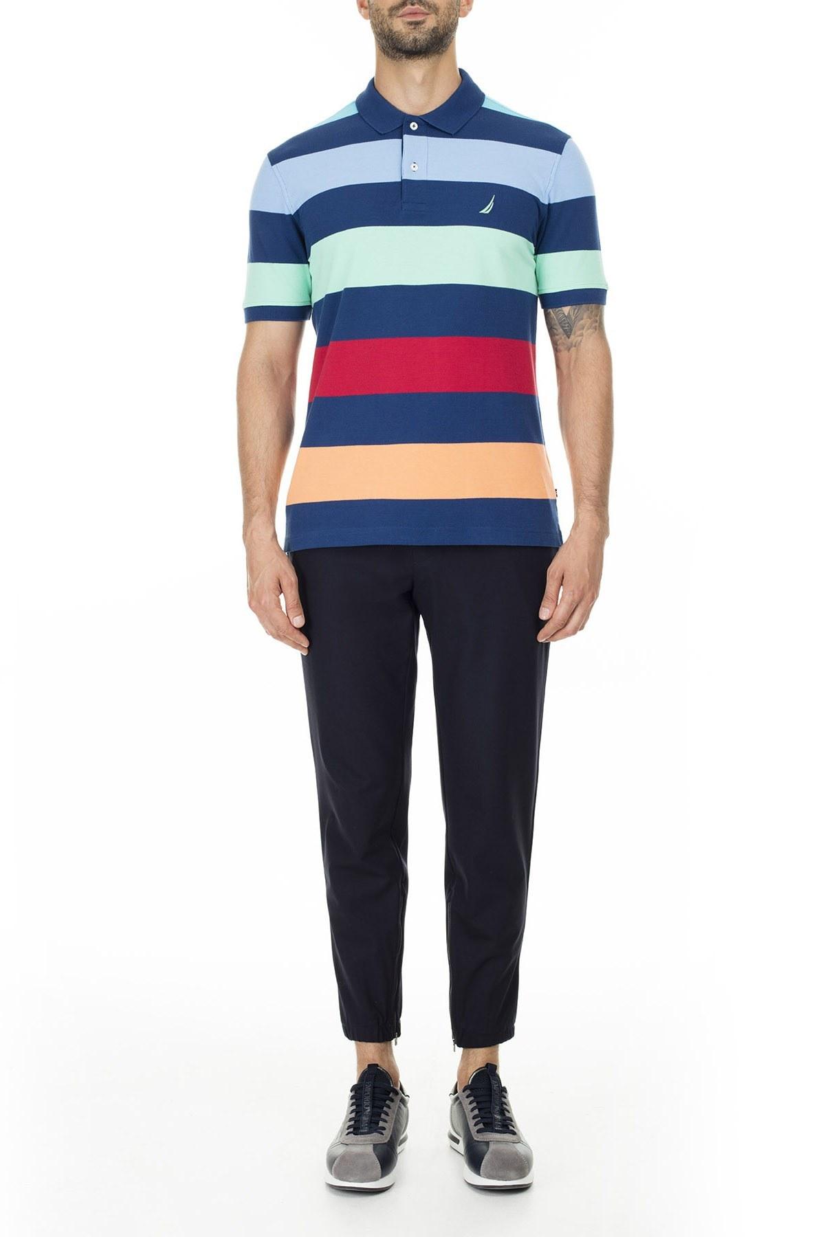 Nautica Slim Fit % 100 Pamuk T Shirt Erkek Polo K01914T 4ES MAVİ