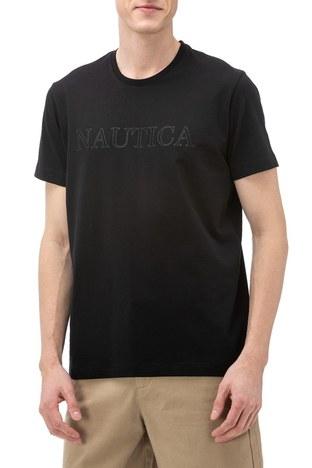 Nautica - Nautica Slim Fit Baskılı Bisiklet Yaka Pamuklu Erkek T Shirt V91016T 0TB SİYAH