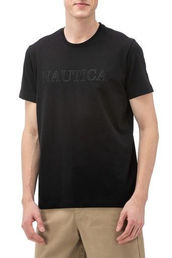 Nautica Slim Fit Baskılı Bisiklet Yaka Pamuklu Erkek T Shirt V91016T 0TB SİYAH