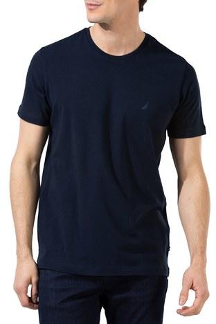 Nautica - Nautica Slim Fit Bisiklet Yaka Pamuklu Erkek T Shirt V01000T 4NV LACİVERT