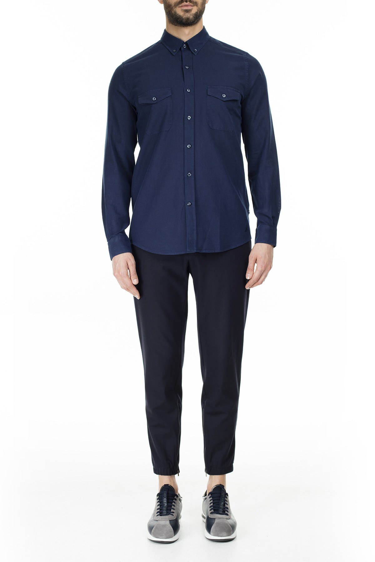 Nautica Slim Fit Erkek Gömlek W01036T 4ES MAVİ