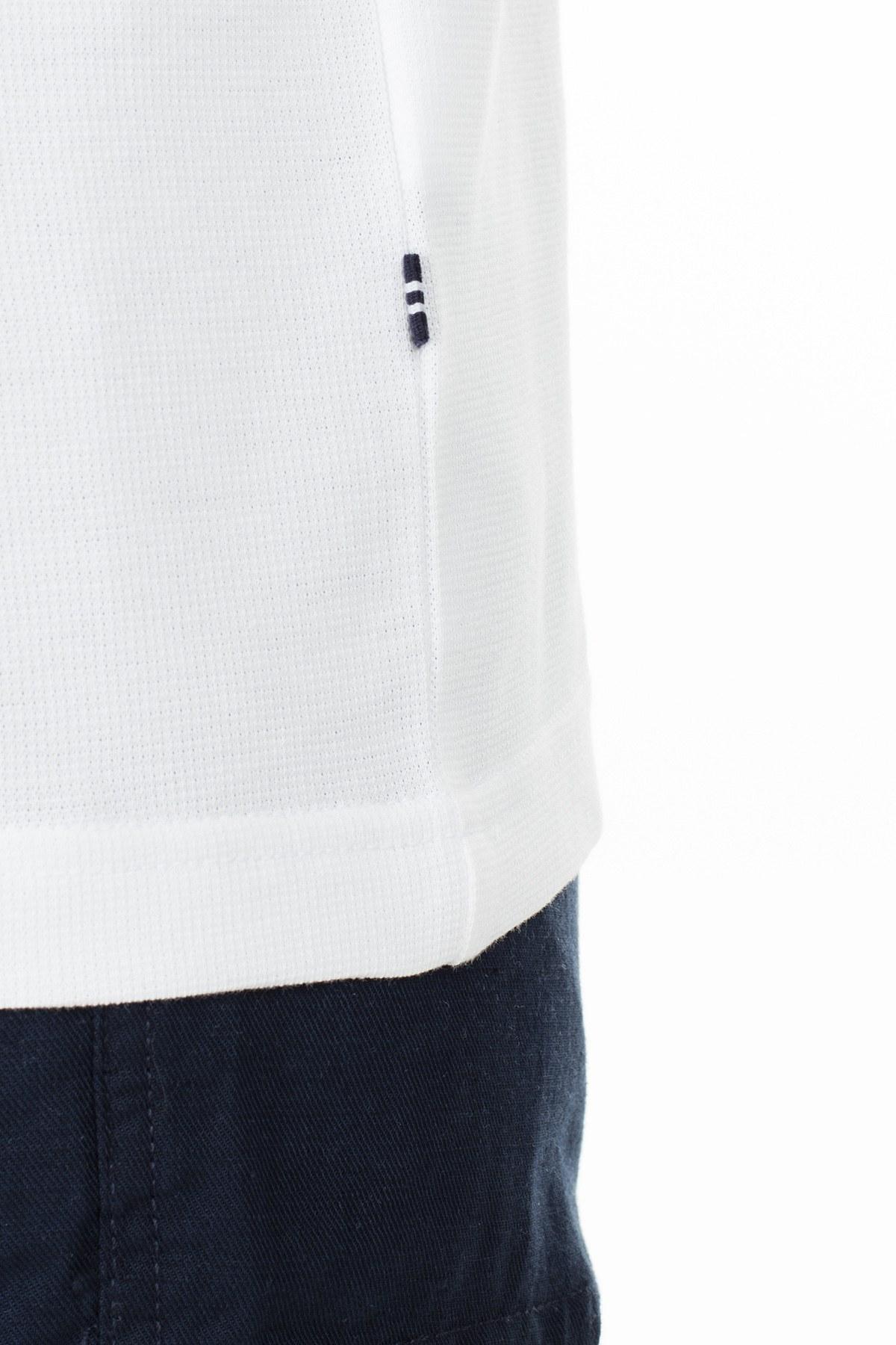 Nautica Slim Fit T Shirt Erkek Polo K01036T 1BW BEYAZ