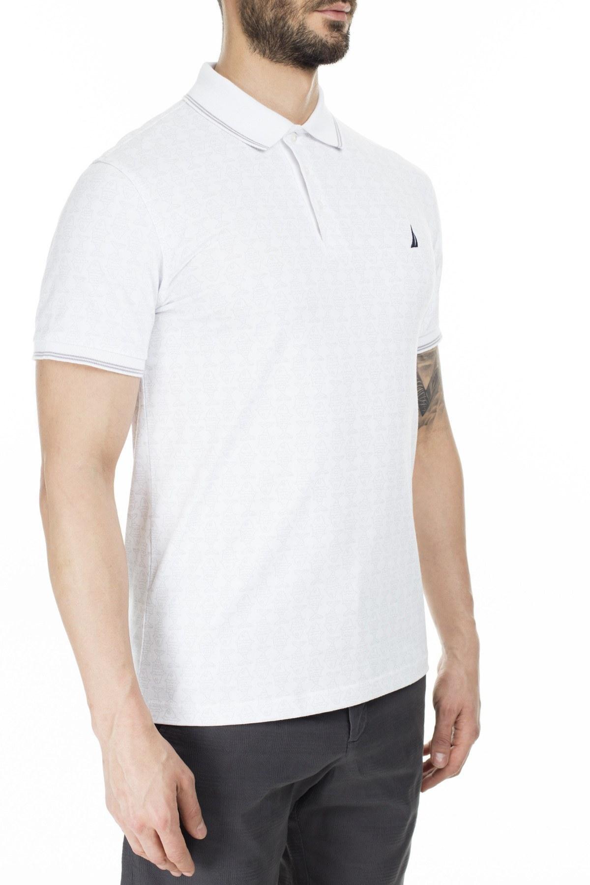 Nautica Slim Fit Yaka T Shirt Erkek Polo K91082T 1BW BEYAZ