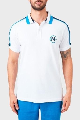 Nautica % 100 Pamuklu T Shirt Erkek Polo K15616T 1BW BEYAZ
