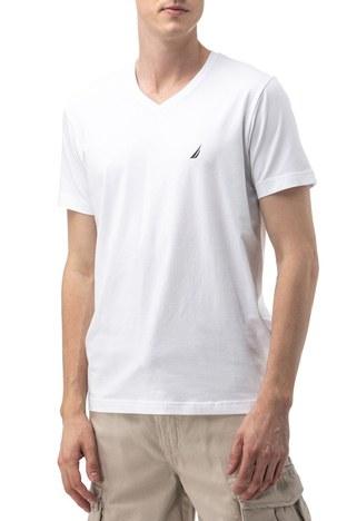 Nautica - Nautica V Yaka Erkek T Shirt V01001T 1BW BEYAZ