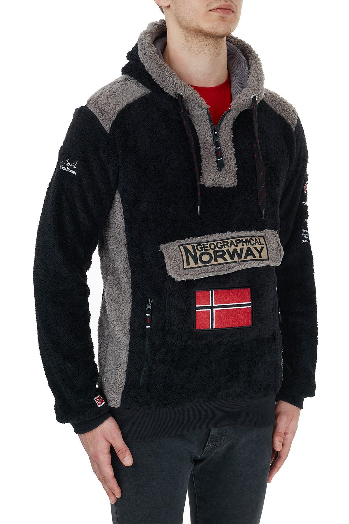 Norway Geographical Kapüşonlu Outdoor Polar Erkek Sweat GYMCLASS E SİYAH