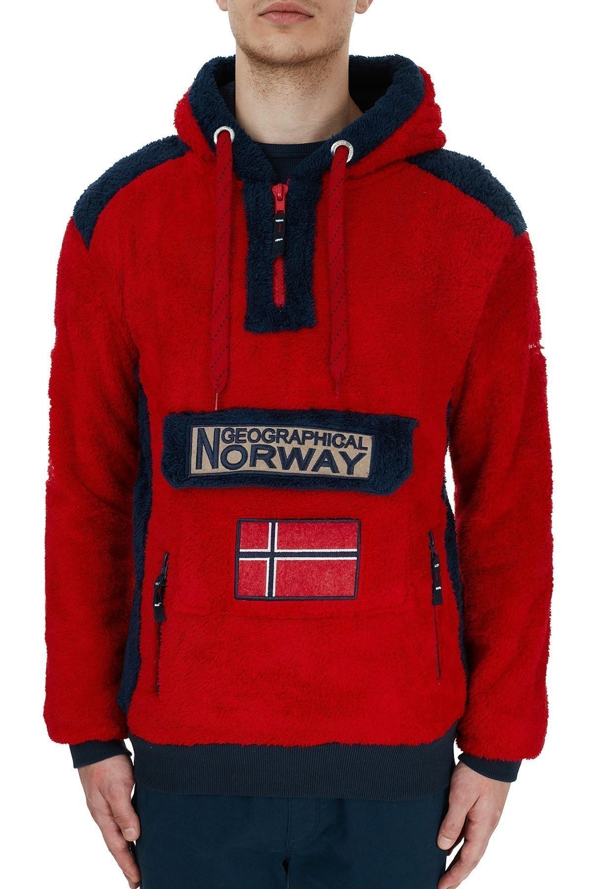 Norway Geographical Kapüşonlu Outdoor Polar Erkek Sweat GYMCLASS E KIRMIZI