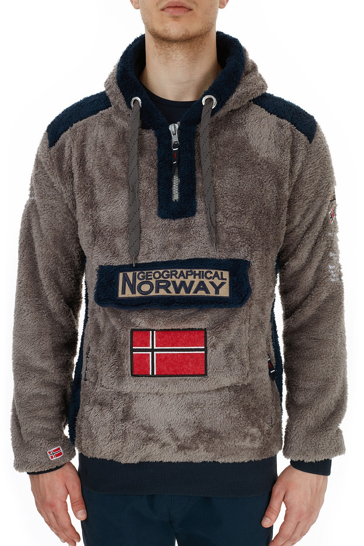 Norway Geographical Kapüşonlu Outdoor Polar Erkek Sweat GYMCLASS E KOYU GRİ