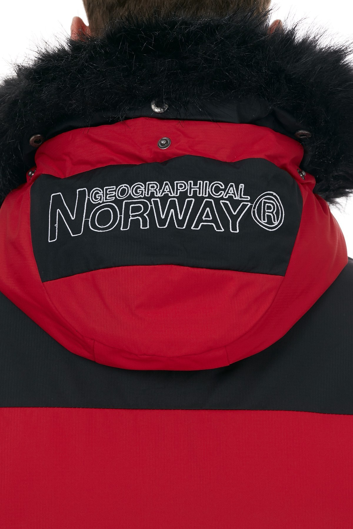 Norway Geographical Kapüşonlu Soğuğa Dayanıklı Outdoor Erkek Parka BRUNO N KIRMIZI
