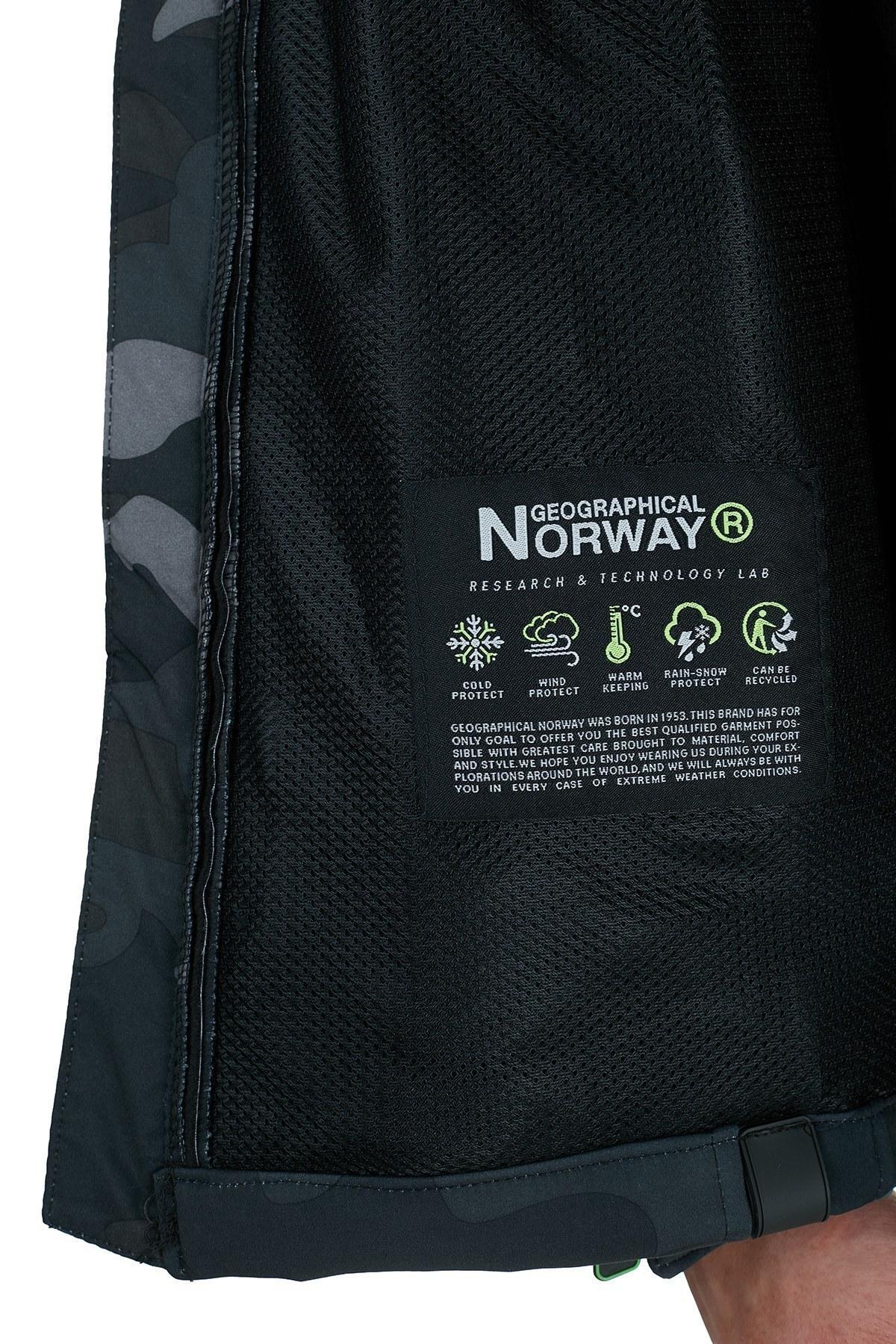 Norway Geographical Kapüşonlu Suya Dayanıklı Outdoor Erkek Mont TABOOCAMO SİYAH-YEŞİL