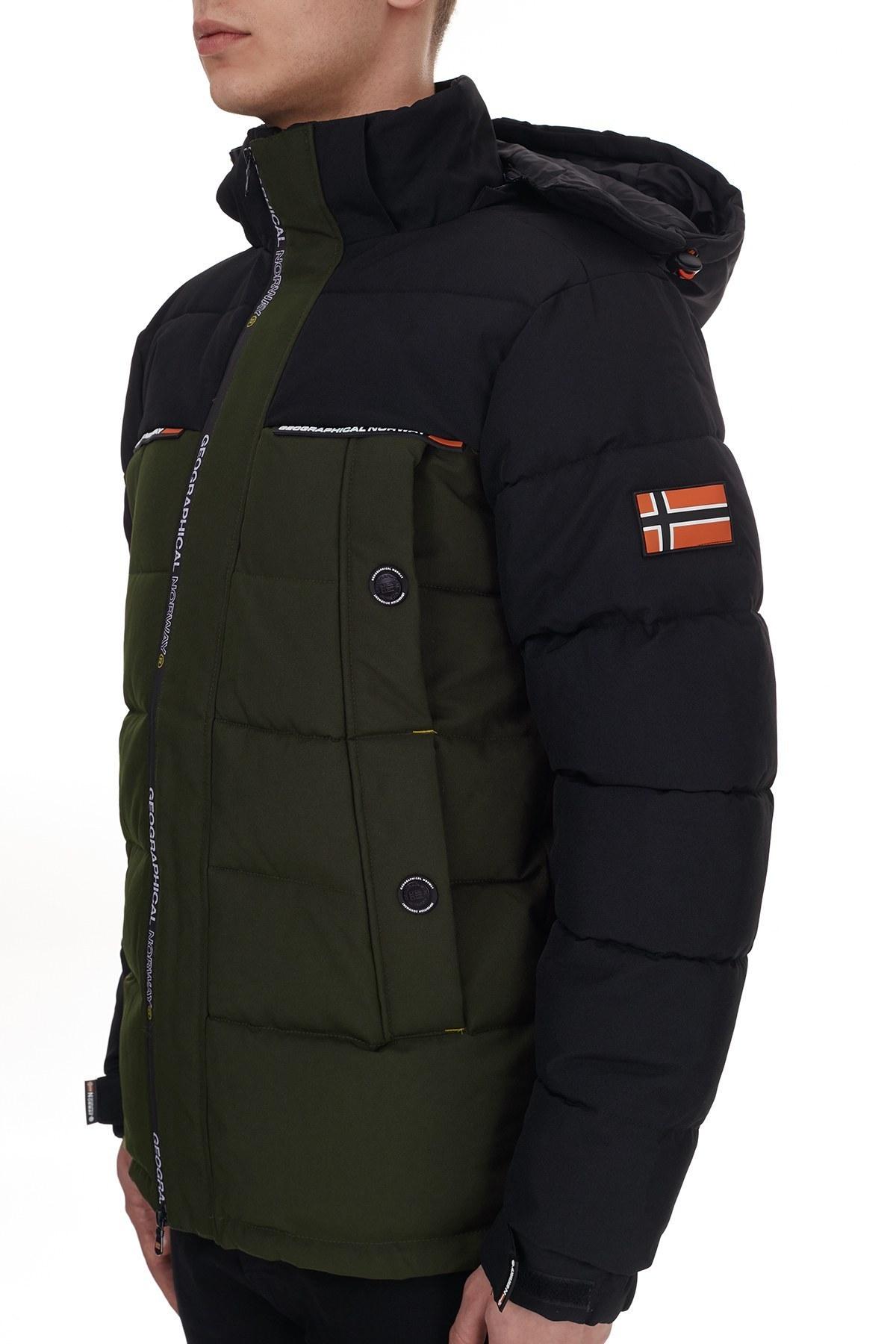 Norway Geographical Su Geçirmez Kapüşonlu Outdoor Erkek Parka BREAKFAST HAKİ-SİYAH