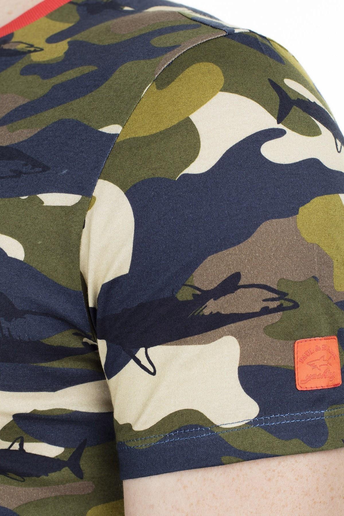 Paul & Shark Erkek T Shirt E18P1159SF 480 KAMUFLAJ