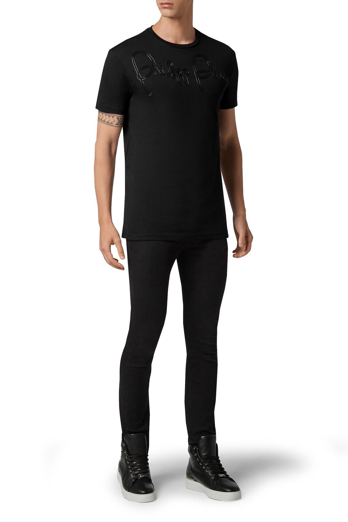 Philipp Plein % 100 Pamuklu Erkek T Shirt F20C MTK4578 PJY002N 02 SİYAH