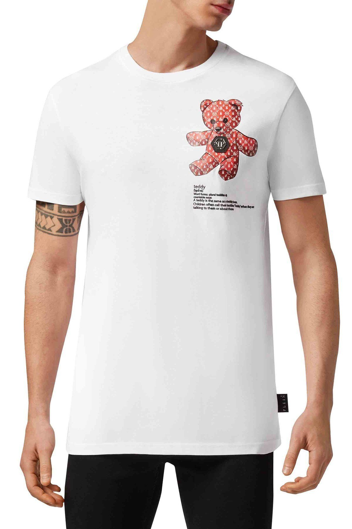Philipp Plein Baskılı % 100 Pamuklu Erkek T Shirt F20C MTK4583 PJY002N 01 BEYAZ