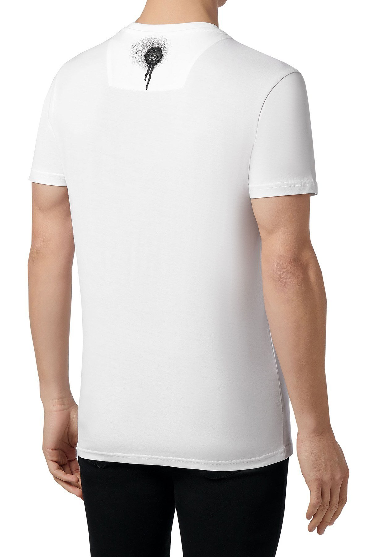 Philipp Plein Baskılı % 100 Pamuklu Erkek T Shirt F20C MTK4593 PJY002N 01 BEYAZ
