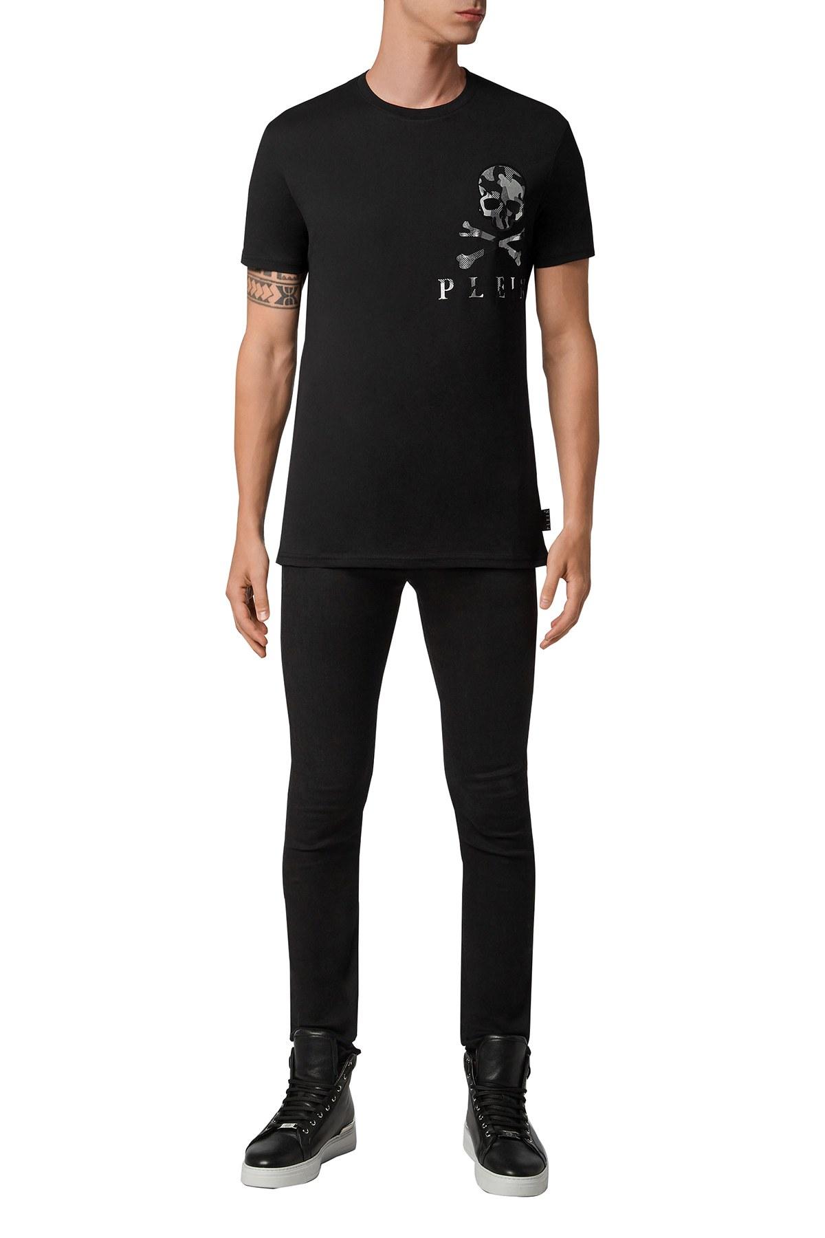 Philipp Plein Baskılı % 100 Pamuklu Erkek T Shirt F20C MTK4594 PJY002N 02 SİYAH