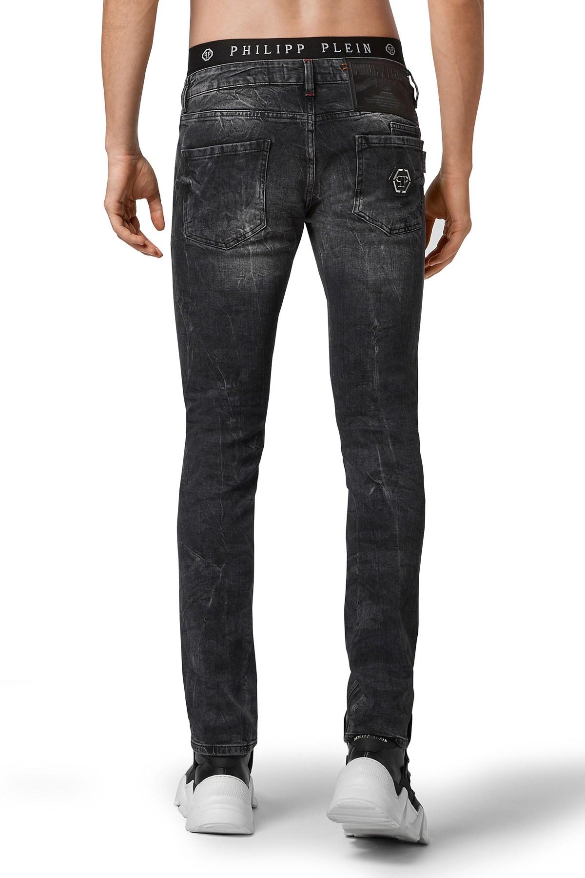 Philipp Plein Düz Kesim Normal Bel Jeans Erkek Kot Pantolon F20C MDT2301 PDE004N 10GO KOYU GRİ