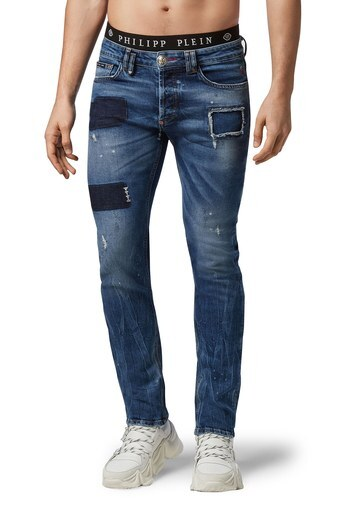 Philipp Plein Süper Düz Kesim Normal Bel Jeans Erkek Kot Pantolon F20C MDT2237 PDE004N 07JA MAVİ