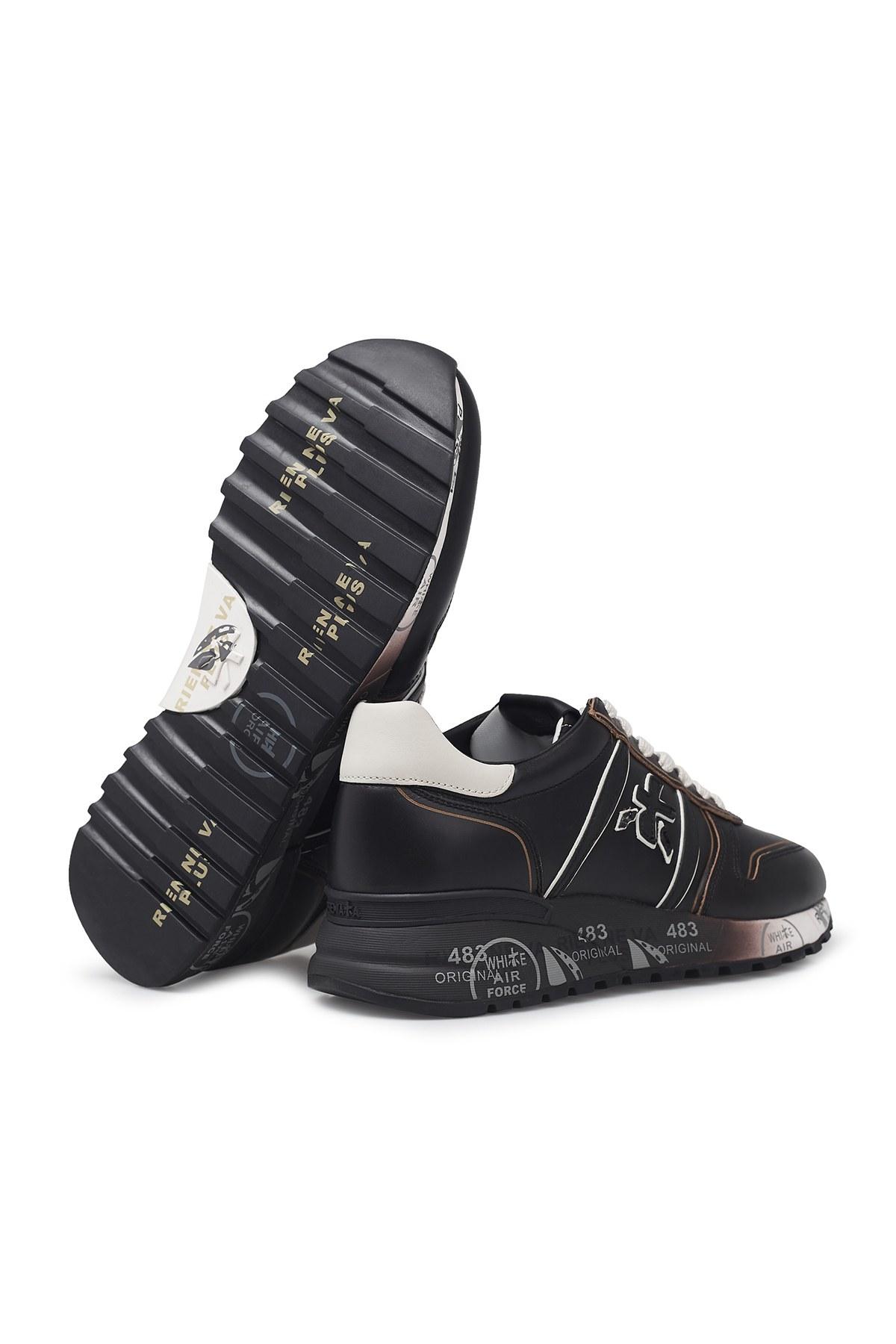 Premiata Baskılı Kalın Taban Deri Erkek Ayakkabı LANDER 4946 SİYAH