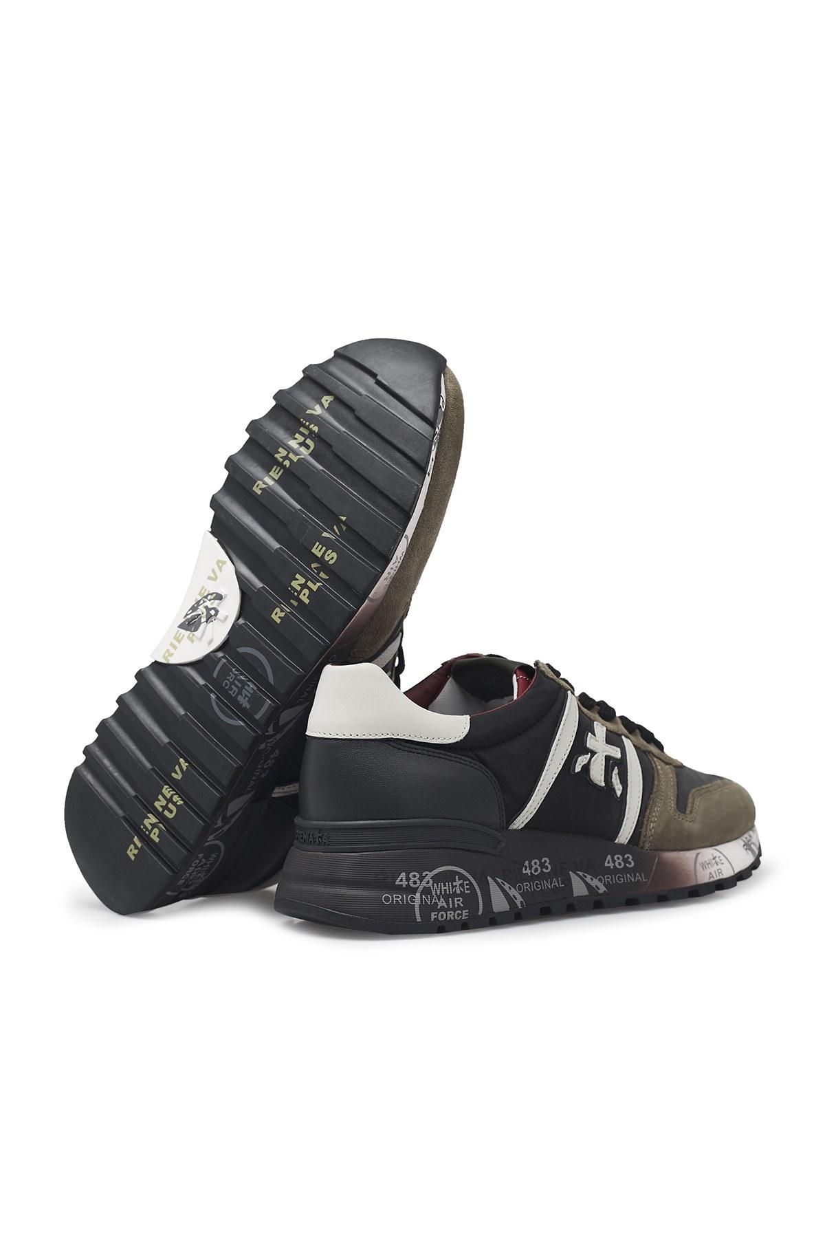 Premiata Baskılı Kalın Taban Deri Erkek Ayakkabı LANDER 4949 HAKİ