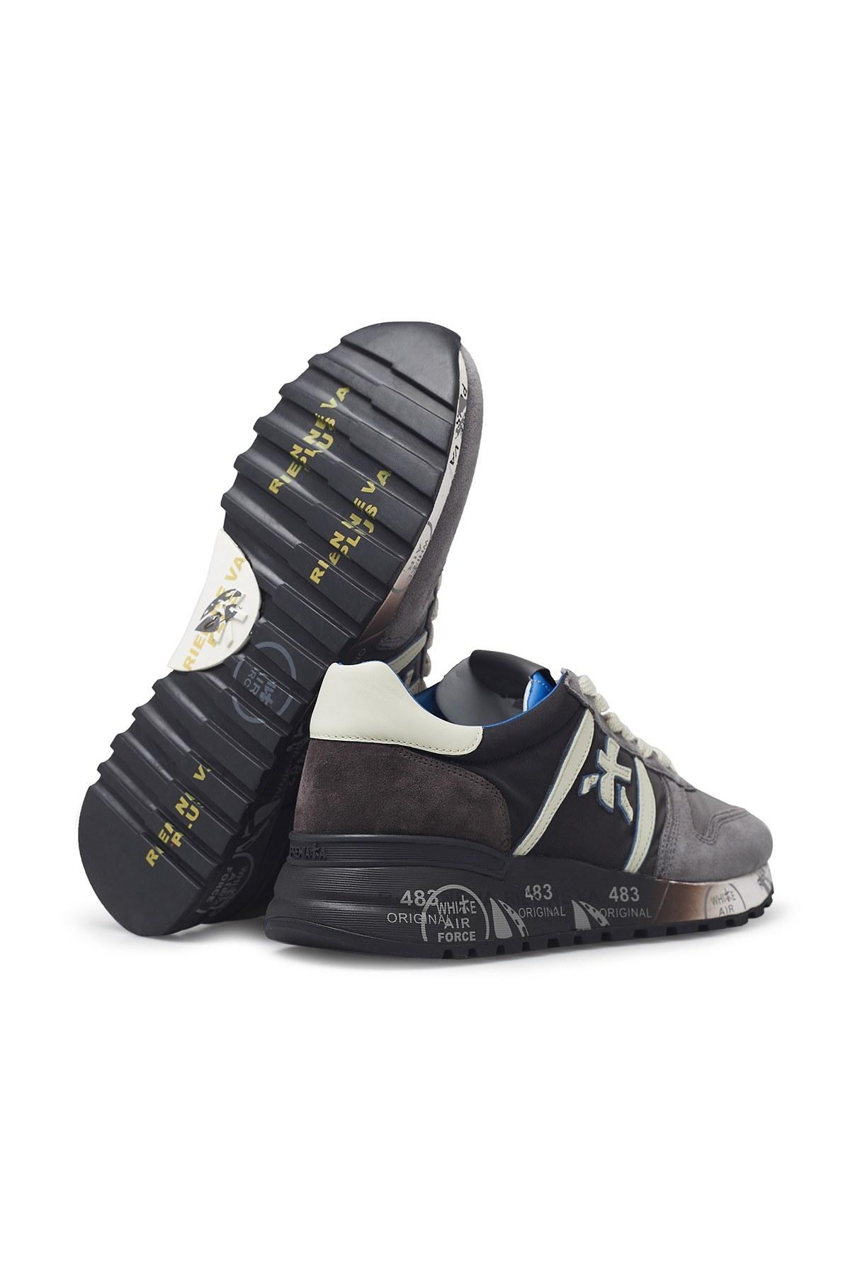Premiata Baskılı Kalın Taban Deri Erkek Ayakkabı LANDER 4950 GRİ